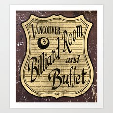Vintage Vancouver Billiard Sign Art Print