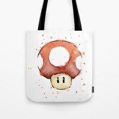 Red Mushroom Watercolor Mario Art Tote Bag