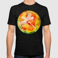 Dragonfly In Embroidered… Mens Fitted Tee Tri-Black SMALL