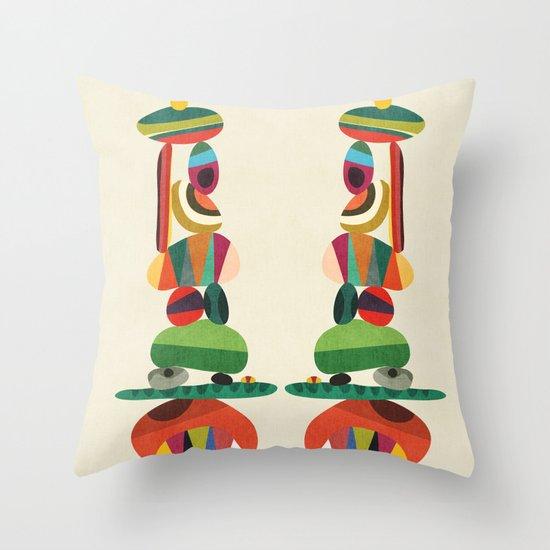Totem - balanced pebbles Throw Pillow