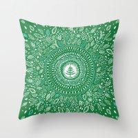 Christmas Tree Mandala Throw Pillow