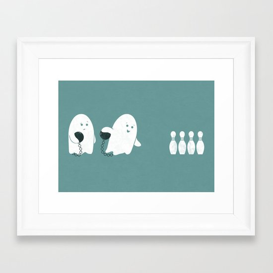Bowling Ghost Framed Art Print