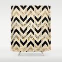 Black & Gold Glitter Herringbone Chevron on Nude Cream Shower Curtain
