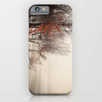 iPhone & iPod Case featuring On winters frozen pond by Wood-n-Images