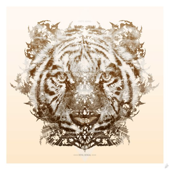 The White Tiger (Gold Version) Art Print