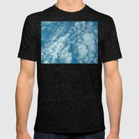 Fluffy Clouds In A Blue … Mens Fitted Tee Tri-Black SMALL
