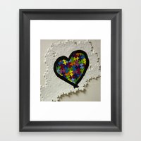 Autism Awareness Heart Framed Art Print