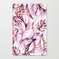 Coral Tropical Palms Canvas Print
