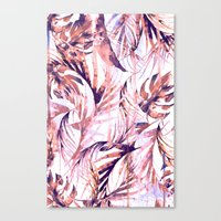Coral Tropical Palms Canvas Print