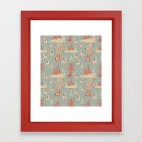 Reindeer, Trees and Elves Framed Art Print