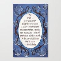 Nikola Tesla quote, Inspirational poster quilled border Canvas Print