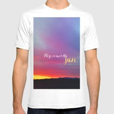 Here comes the sun White SMALL Mens Fitted Tee