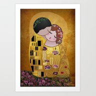 Art Print featuring Kokeshi The Kiss by Pendientera