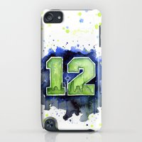 iPod Touch Cases featuring 12th Man Seahawks Seattle Go Hawks Art by Olechka