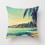 Throw Pillow featuring Summer Love Vintage Beac… by RexLambo
