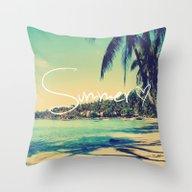 Summer Love Vintage Beac… Throw Pillow