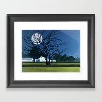 The Farm By Moonlight Framed Art Print