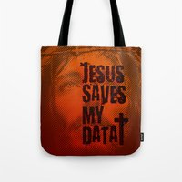 Jesus saves my data Tote Bag