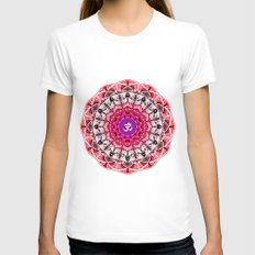 RED OM MANDALA Womens Fitted Tee White SMALL
