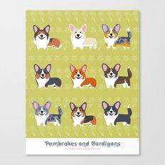 Pembrokes and Cardigans - CORGIS Canvas Print
