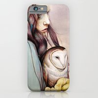 iPhone Cases featuring The Girl and the Owl by Michael Shapcott