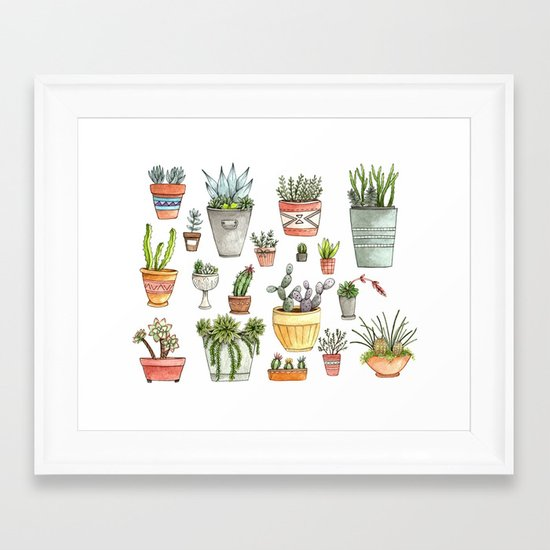 Potted Succulents Framed Art Print