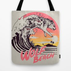 Wolf Beach Tote Bag