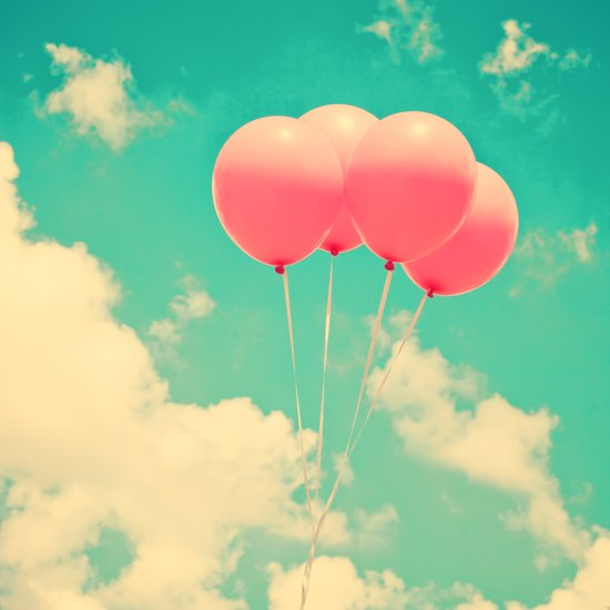 Balloons in the sky (pink ballons in retro blue sky) Art Print