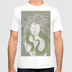 Snake and Sprite: Green Mens Fitted Tee SMALL White