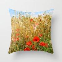 Poppy in a wheatfield Throw Pillow
