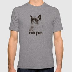 NOPE - Grumpy Cat. Mens Fitted Tee Athletic Grey SMALL