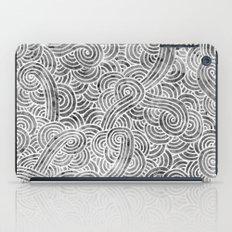 Grey and white swirls doodles iPad Case