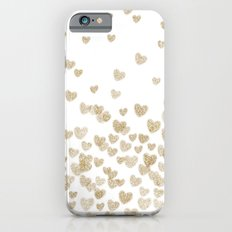 Gold Glitter Hearts - Wh… iPhone 6 Slim Case