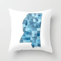 Mississippi Counties Blueprint watercolor map Throw Pillow