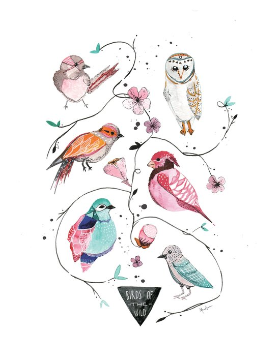 BIRDS OF THE WILD Art Print