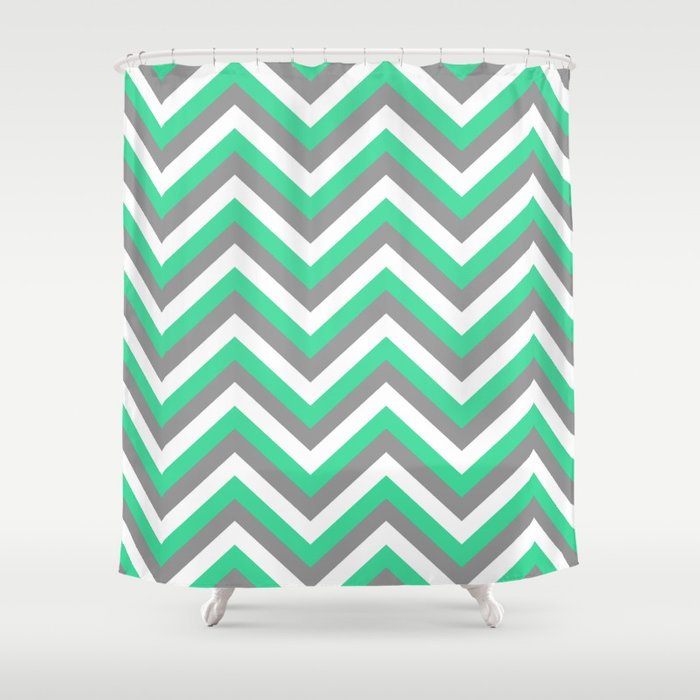 Mint Green White And Grey Chevron Shower Curtain By