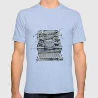 Vintage Typewriter Mens Fitted Tee Athletic Blue SMALL