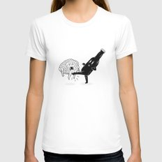 Stop Thinking Start Drinking Womens Fitted Tee White X-LARGE