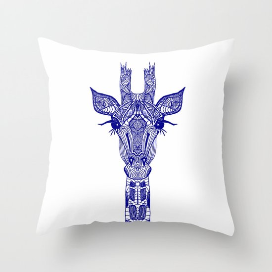 GIRAFFE BLUE Throw Pillow