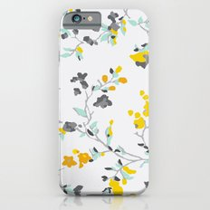 floral vines - light blue and yellow iPhone 6s Slim Case