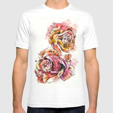 Rose Blooms Mens Fitted Tee White SMALL