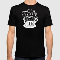 Tea Time Mens Fitted Tee Black SMALL