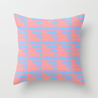 Pink Blue Peach Houndsto… Throw Pillow