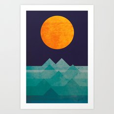 The ocean, the sea, the wave - night scene Art Print