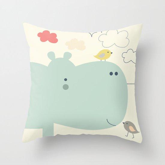Hippy Hippo Throw Pillow