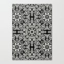 Black & White Folk Art Pattern Canvas Print