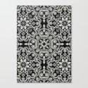 Black & White Folk Art Pattern Canvas Print
