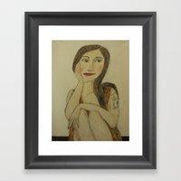 Girl With Dragon Tatu Framed Art Print