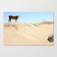 Cow Meets Dog Canvas Print