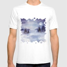 Winter Night Mens Fitted Tee SMALL White